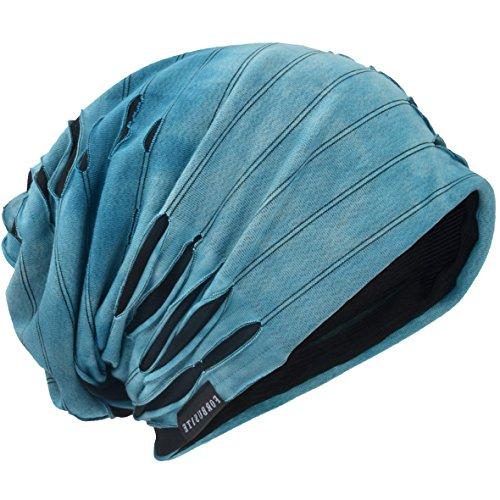 HISSHE Unisex Jersey Slouch Mütze Dünne Sommer Skullcap (9A-Blau)