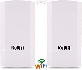 KuWFi 2-Pack 300Mbps Wireless Outdoor CPE Kit Indoor Outdoor Point-to-Point Wireless Access Point Bridge Supports 1KM Transmission Distance Solution for PTP/PTMP (Pre-Program)
