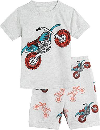 MOMBEBE COSLAND Pijamas Niños Motocicleta Manga Corta Verano 2 Piezas 4-5 Años Gris Claro