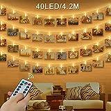 LED Foto Clip Stringa Illuminazione , otumixx 40 Foto Clips Luci di Stringa con Telecomand...