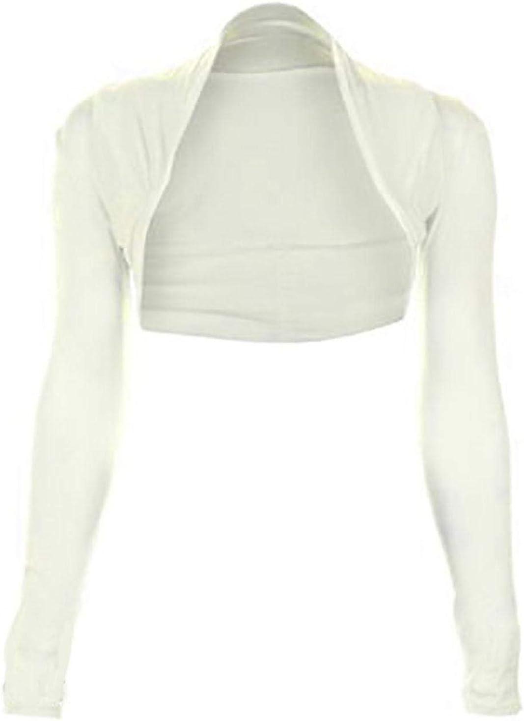 Rimi Hanger Womens Long Sleeve Plain Bolero Shrug Ladies Plus Size Party Wear Shrug Top Small/XXX Large