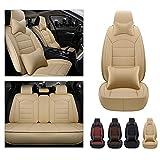 Maidao Fundas de asiento para Nissan Pathfinder 2005 – 2019 compatibles con airbag delantero trasero completo funda protectora de asiento de cuero artificial impermeable, con almohada beige