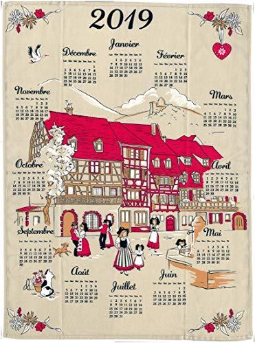 Torchon décoratif Alsace Calendrier 2019 - Village Attention Calendrier 2019