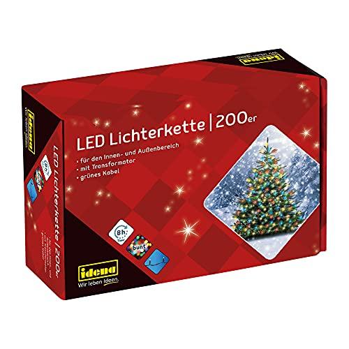 Idena 8325068 - LED Lichterkette mit 200 LED bunt, mit 8 Stunden Timer Funktion und Transformator, ca. 27,9 m lang, für den Innen- und...
