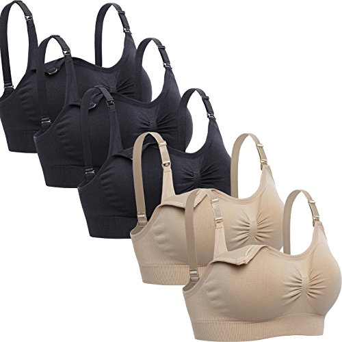 Lataly Womens Sleeping Nursing Bra Wirefree Breastfeeding Maternity Bralette Pack of 5 Color Black Beige Size M