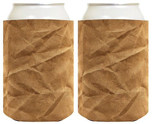 Funny Can Coolie Brown Paper Bag Gag Gift Coolies 2 Pack Can Drink Coolers Multi