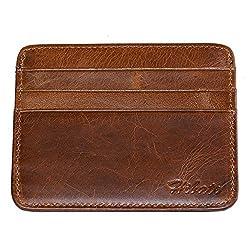Hibate (Braun) Leder Herren Kreditkartenhülle Männer Kreditkartenetui Abgeschirmt, RFID Schutzhülle Kreditkarten Kartenetui, Kartenhalter Halter Etui