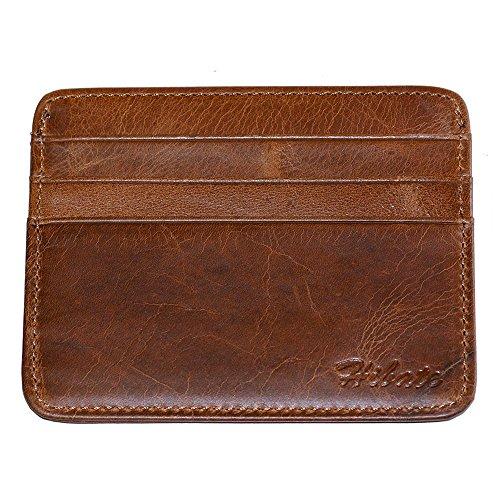 Hibate (Marrón) Mini Piel Tarjetero para Tarjetas de Crédito Cartera Hombre Niño Cuero Fundas Billetera