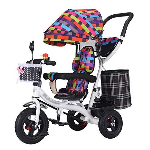Kinderwagen Trike Fahrradrahmen mit hohem Kohlenstoffstahlrahmen für Kinder mit Anti-UV-Markise und Sicherheitsgurt Baby-Dreirad für 6 Monate bis 6 Jahre alt