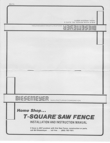 Delta Rockwell Biesemeyer Homeshop T-Square Fence Instructions Reprint [Plastic Comb]