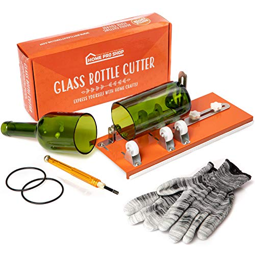 Glass Cutter Bundle - DIY Machine for Cutting Wine, Beer, Liquor, Whiskey, Alcohol, Champagne, Water or Soda Round Bottles & Mason Jars to Craft Glasses - Accessories Tool Kit, Gloves