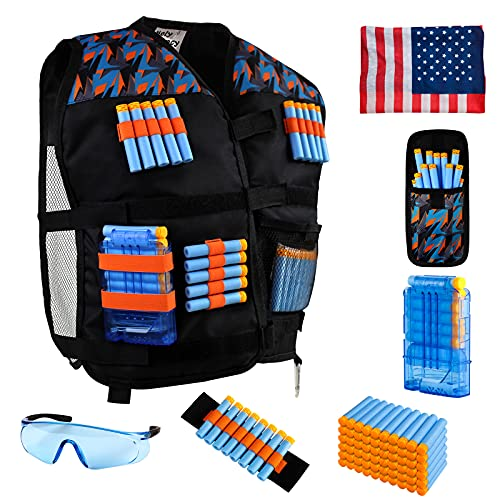 Hely Cancy Kids Toy Tactical Vest Kit Compatible with Nerf N-Strike Elite for Boys & Girls, with Darts, Reload Clip, Tactical Scarf, Wrist Band and Protective Glasses Blue