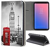 Samsung Galaxy A5 2017 A520 Hülle Premium Smart Einseitig Flipcover Hülle Galaxy A5 2017 Flip Hülle Handyhülle Samsung A5 2017 Motiv (1103 London Big Ben England Rot Grau)