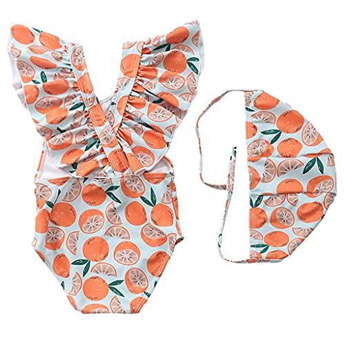 KLOVA Traje de baño Monokini de Verano para niños pequeños y niñas con Gorro de baño, Traje de baño sin Espalda Cruzado con Volantes, Traje de baño de Dibujos Animados