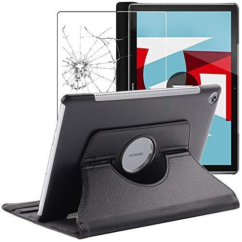 ebestStar - kompatibel mit Huawei MediaPad M5 10.8 Hülle Tablet 10.8 Rotierend Schutzhülle Etui Ständer, Rotating Hülle Cover, Schwarz + Panzerglas Schutzfolie [M5 10.8: 258.7 x 171.8 x 7.3mm, 10.8'']