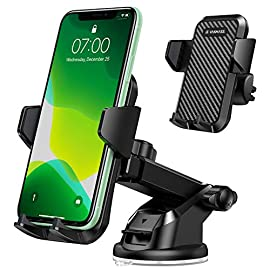 VANMASS Universal Car Phone Mount,【Patent & Safety Certs】Upgraded Handsfree Stand, Dash Windshield Air Vent Phone Holder… 1 💡【Chief Designer: Philosophy of This Product】This is my most satisfactory work among 100+ car holder designs, which recovers its original simplicity. I'm grateful for design team's outstanding contribution. Simplicity is a philosophy, a joy, a life attitude. I wish this stand can please you, and hope its production, sales & service processes are full of simple wise and joy. I would keep focusing on and improving this holder, and I look forward to everyone's valuable product opinions at any time 🎁【Patented Multi-scene Design: Car/Desk/Kitchen/Bathroom/Treadmill】VANMASS car phone holder thoughtfully comes with sticky suction cup mount & sturdy vent clip to be a perfect assistant for your phone anywhere that can stick on or clip on for music, movie, GPS navigation, weather monitoring & traffic alerts. Ideal gift for your lover, family & friends! Rigorous appearance & structure design have been patent protected in 30+ countries with global safety certifications such as RoHS, CP65, REACH. 🚀【Original 4 Technologies - Thanks to Millions of Users' Feedbacks】1)👑The Plastics King👑 precious&costly Aerospace PTFE materials are used to make this car mount, which challenge extreme weather (-40~194℉) 2)Strongest suction cup loads up to 44LBS, 1.5 times others. Extra dash pad for great mounting 3)Tightest clamp arm by innovatively optimizing 2 controlled gears into 1 gear structure for perfect 2-side control 4)Industry original steel-cored 3 level lock clip has 20X stability & durability