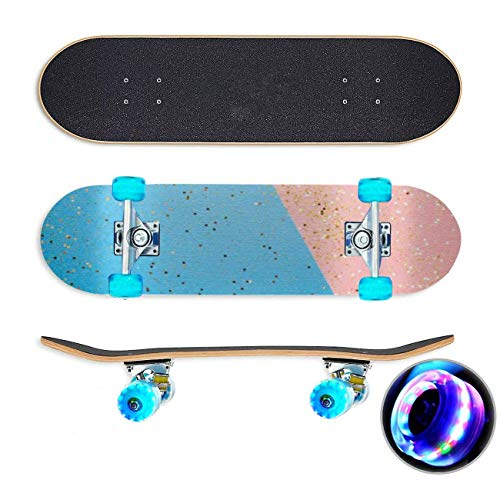 UYDBKSJABM Glitter op de Roze achtergrond Stockbeeld Skateboard Colorful Flashing Wheels Extreme Sports&Outdoors 31''Cruiser Complete Standard Longboard Beginners Kids Cool Boys Teen