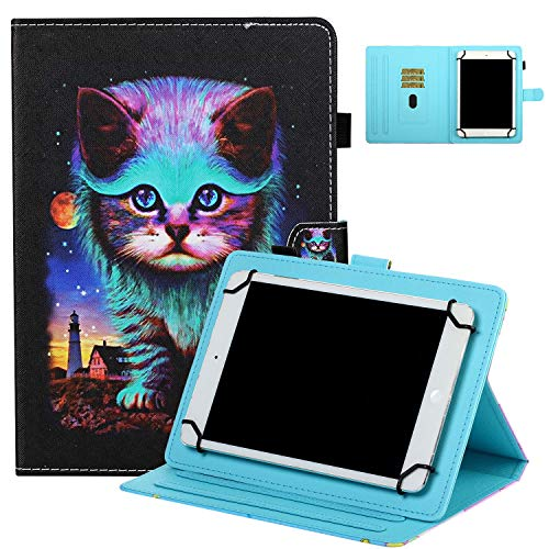 UGOcase Cover for 8' Tablets, Shockproof Folio Stand Protective [Card Slots] [Pen Holder] Case for ZenPad 8.0'/ MeMo Pad 8 ME181C/Mediapad T1 8.0/Honor T1 8.0 and More 7.5'-8.5' Tablets - Cool Cat