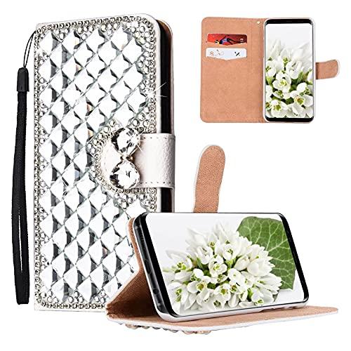 Yewos Kompatibel mit Huawei P30 Pro Hülle Brieftasche Kristall glänzend 3D Diamant Strass Flip Schutzhülle niedlich Bling Ledertasche mit Handschlaufe Kartenschlitz Magnetisch,Silber