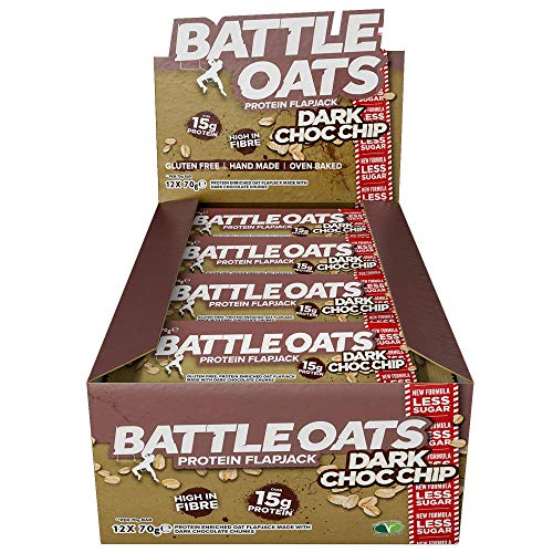 Battle Oats High Protein Flapjack, 12 x 70 g Protein Bars - Dark Choc Chip