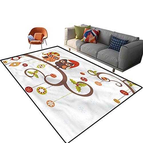 Indoor Room Christmas Area Rugs,4'x 6',Noel Owls Folkloric Floor Rectangle Rug with Non Slip Backing for Entryway Living Room Bedroom Kids Nursery Sofa Home Decor
