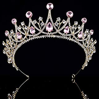 Coucoland Vintage Crystal Rhinestone Bridal Wedding Queen Crown Tiara (Gold and Pink)