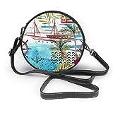 Estilo marino Acuarela Faro Yate Palmera Fondo Mujer Slant Bolso, Personalizado Bolso de Hombro Solo, Bolsa de Fecha Bolsa de Turismo