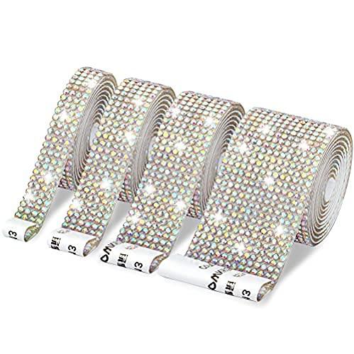 4 rollos de cinta autoadhesiva de diamantes de imitación de cristal para manualidades, diamantes de imitación, 2 mm