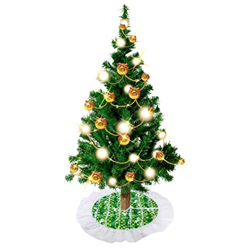 Hirolan 62cm Santa Claus Tree Skirt Christmas Tree Skirts Decoration (A)