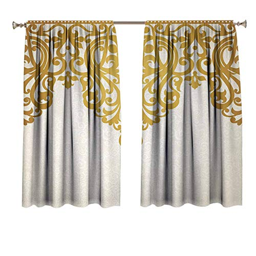 Antique Blackout Curtains Victorian Style Medieval Motifs with Classic Baroque Oriental Shapes Print Panels Rod Pocket for Living Room 55x72 inch