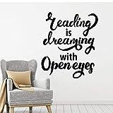Etiqueta de la pared del vinilo de la sala de lectura calcomanía de la pared de la biblioteca cita que dice que liderar es soñar con los ojos abiertos pegatinas de pared de la librería-91x105cm