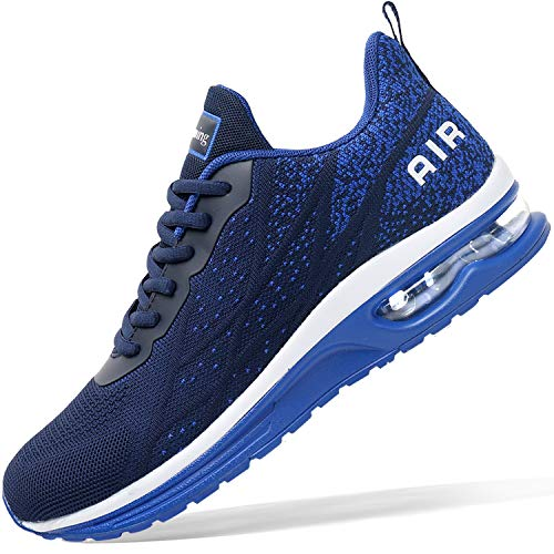 Mens Air Athletic Running Tennis Shoes Lightweight Sport Gym Jogging Walking Sneakers(Navy US 10.5 Wide)