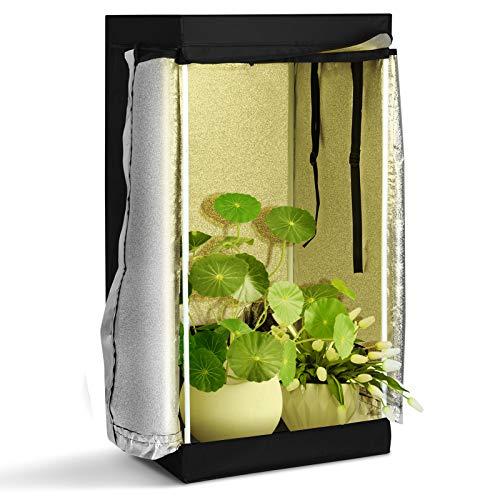 RELAX4LIFE Growzelt, Growbox lichtdicht wasserdicht, Gewächshaus mit Reißverschlusstür, Growtent für Erde & Hydroponische Aufzucht, Zuchtschrank Darkroom Gewächszelt Indoor & Outdoor, 60 x 60 x 120 cm