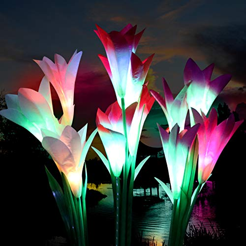 GOLDEN AUTUMN Solar Lights Outdoor Decorative,Solar Garden Lights, 12 Lilies of Larger Size, Used for Garden Lawn Backyard Terrace, Automatic Color Changing LED Solar Flowers