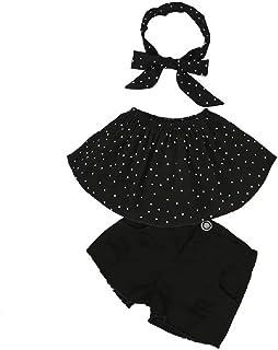 Hooyi - Conjunto de pantalones vaqueros cortos para niñas con hombros descubiertos, sin tirantes, color negro