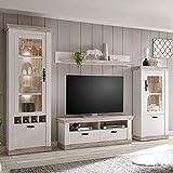 Lomadox Landhaus Wohnwand Pinie weiß mit 2 Vitrinen, TV-Lowboard & Regal inkl. LED-Beleuchtung