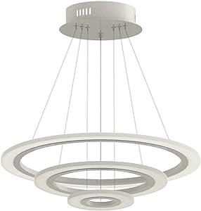 70W LED Tres Anillo Acrílico Moderna Lámpara de Araña Creativa Lámpara Cálida Blanca Lustres SMD Lámpara Colgante (70W Blanco Frío Tres Anillos)