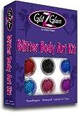 GlitZGlam Kit Tatuaggi Glitterato: New 6 Glitter Grandi & 12 Stencil Riutilizzabili. Tatuaggi Temporanei per Bambini, Adolescenti & Adulti
