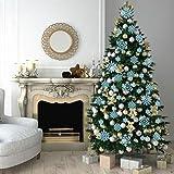50 Stücke Kunststoff Funkeln Schneeflocken Ornamente für Weihnachten Dekoration, Verschiedene Größen (Blau Glitzer) - 6