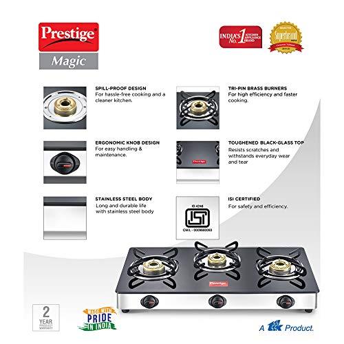 Prestige Magic 3 Burner Gas Stove Stainless Steel Body GTMC 03 SS, Black, Manual
