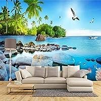 XIAOHUKK 3D自己接着壁紙防水PVCビニール美しい海の景色の島のポスター写真壁壁画/自己接着の大きな壁紙