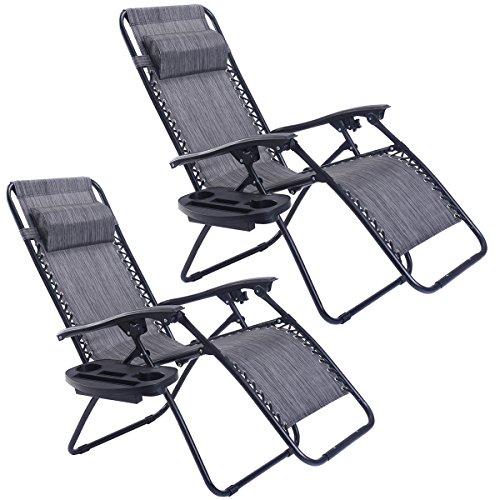Goplus Zero Gravity Chairs, Lounge Patio, Folding Recliner, Outdoor Yard Beach with Cup Holder, Gray, 2 Piece