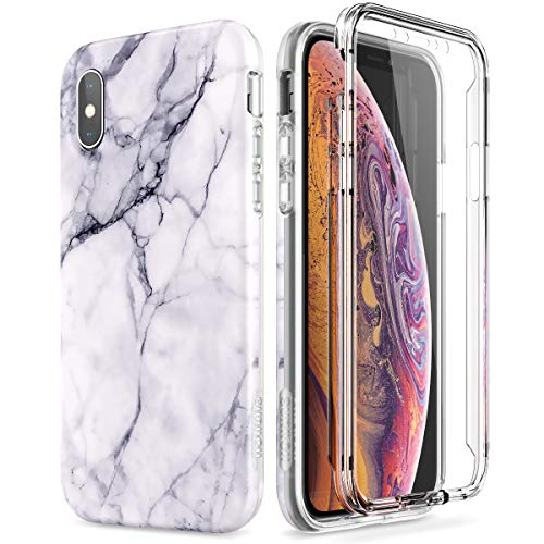 SURITCH Marble iPhone Xs Case/iPhone X Case, [Built-in Screen Protector] Full-Body Protection Hard PC Bumper + Glossy Soft TPU Rubber Gel Shockproof Cover Compatible with Apple X/Xs-Black/White