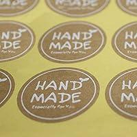 AKOAK 20枚 240枚/ロット ラウンド ホワイト ハンドメイド ステッカー クラフト紙 ステッカー ラベル DIY ハンドメイド 封筒 ステッカー ギフトパッケージ ベイク デコレーション シール ステッカー