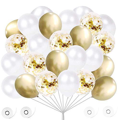 60 Piezas Globos de Helio Perla, Globos Blancos, Globo Confeti, Globos de Fiesta para Decoraciones de Cumpleaños , Baby Shower, Fiestas, Ceremonias de Graduación