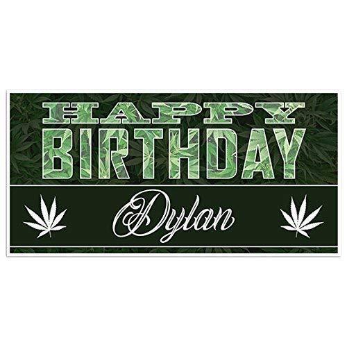 Marijuana Green Bow Birthday Banner Personalized Party Backdrop Decoration