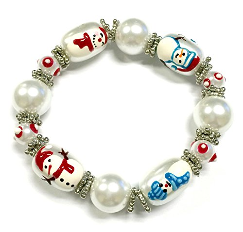 Linpeng 3D Hand Painted Glass Beads Christmas Stretch Bracelet in Bag, Snowman