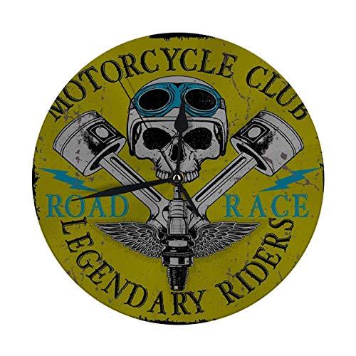 Meili Shop Reloj de Pared Decorativo Big Motorcycle Racing Skull Old School Bike Relojes Redondos Grandes