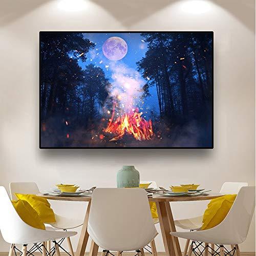 hetingyue Forêt Nordique Romantique Clair de Lune Peinture sur Toile feu de Joie Paysage Affiches et Impressions décoration de la Maison Peinture Murale Chambre d'enfants Peinture sans Cadre 20x30 cm