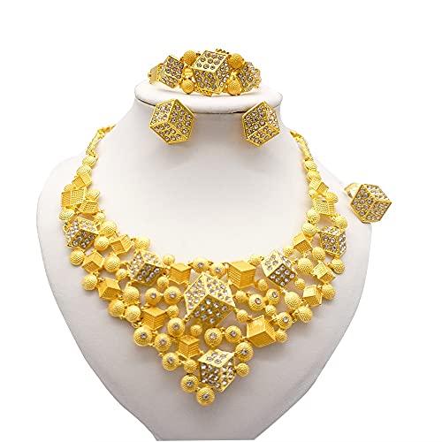 QXZ-WOLFBERRY 3D Jewelry Sets African 24k Oro para Las Mujeres Dubai Regalos de Boda de Dubai Collar de Fiesta Nupcial Pulsera Pendientes Joyería (Metal Color : BJ926 I5)